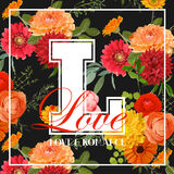 Vintage Colorful Flowers Graphic Design Stock Photos