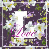 Vintage Colorful Flowers Graphic Design - for t-shirt Royalty Free Stock Photo
