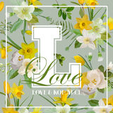 Vintage Colorful Flowers Graphic Design - for t-shirt Royalty Free Stock Photography