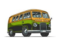 Vintage colorful hippie bus template. On white background isolated vector illustration Stock Photos