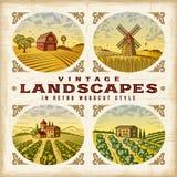 Vintage colorful landscapes set Stock Images