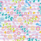Vintage colorful love flowers seamless pattern on blue and purple striped background vector design for fabric clothes background. Backdrop and wallpaper Stock Photos