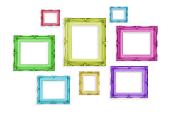 Vintage colorful photo frames isolated on white background,Templ Stock Photo