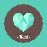 Vintage colorful polygon heart illustration Royalty Free Stock Photos