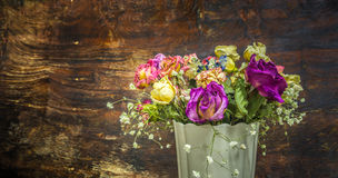 Vintage colorful preserved flowers Royalty Free Stock Images