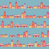 Vintage colorful pretty town blue pattern Royalty Free Stock Images
