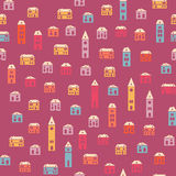 Vintage colorful pretty town violet pattern Stock Photography