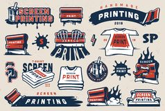 Free Vintage Colorful Screen Printing Elements Set Stock Images - 129571514
