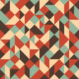 Vintage colorful seamless pattern with triangles and squares. Stock Photos