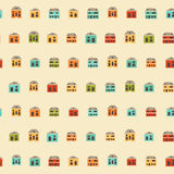 Vintage colorful small houses pattern Stock Image