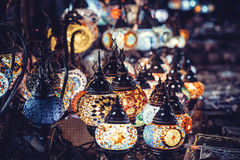 Vintage colorful Turkish lamps on street. Royalty Free Stock Photography