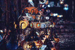 Vintage colorful Turkish lamps on street. Royalty Free Stock Photo