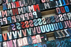 Vintage colorful type letters Stock Image