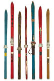 Vintage colorful used skis isolated on white Royalty Free Stock Image