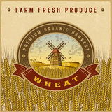 Vintage colorful wheat harvest label Stock Photography