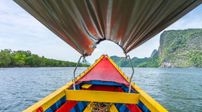 In vintage colorful wooden boat at Phang Nga bay Royalty Free Stock Images