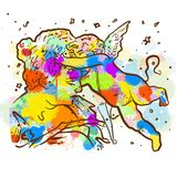 Vintage colorido Angel Sketch ilustração stock