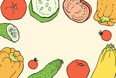 Vintage Colors Doodle Background with Peppers, Tomatoes, Cucembers and Squashes Royalty Free Stock Photography