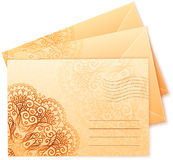 Vintage colors ornate isolated vector envelops Stock Photo