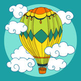 Vintage coloured balloon in clouds Royalty Free Stock Photo
