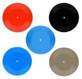 Vintage coloured vinyls records set Stock Photo