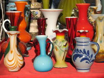 Vintage colourful vases Stock Photography