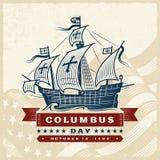 Vintage Columbus Day Label stock illustration