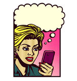 Vintage comic book style woman with smartphone thinking  pop art illustration Stock Image