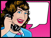 Vintage Comic Style Woman on the Phone. Illustration of Pop Art Style Comic book woman gossiping away on the telephone Stock Photo