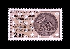 Vintage commemorative stamp of american independence. Old French stamp commemorating the bicentennial of the Treaties of Paris and Versailles sealing the Stock Images