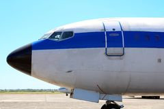 Vintage commercial airplane, military plane at airport platform. Retired airplane. Beautiful transportation machine. Argentinian air force Stock Images