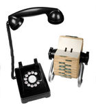 Vintage Communications. Set of vintage retro rotary telephone and rotary card file on white background royalty free stock images