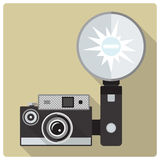 Vintage compact camera with flash vector icon Stock Photos