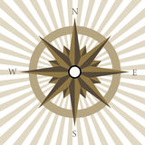 Vintage compass. Nautical star - vintage compass in brown color with stripes Stock Image