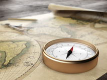 Vintage compass on an ancient world map. 3d render Royalty Free Stock Photos