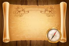 Vintage compass and antique scroll Royalty Free Stock Photography
