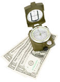 Vintage compass with cash Royalty Free Stock Photos