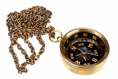 Vintage compass with chain. On white background with clipping path Royalty Free Stock Photography