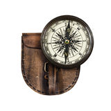 Vintage compass with lid isolated on white background Royalty Free Stock Image