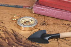 Vintage compass lies on  map Royalty Free Stock Photos