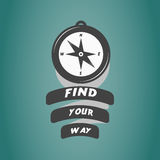 Vintage compass logo with motivation text. Find your way Royalty Free Stock Image