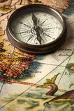 Vintage compass on a map Stock Photo