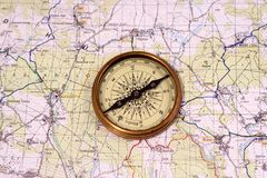 Vintage Compass on the Map Royalty Free Stock Photo
