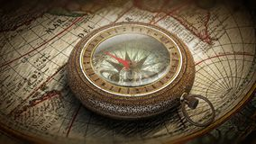 Vintage Compass on the Map. An old compass laying on an ancient world map royalty free illustration