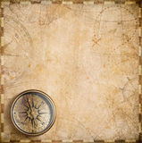 Vintage compass and nautical map Royalty Free Stock Image