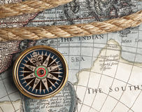 Vintage compass and old map Stock Photo