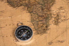 Vintage compass on old map Royalty Free Stock Photos
