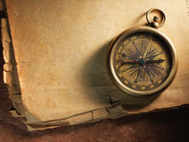 Vintage compass on old paper Royalty Free Stock Image