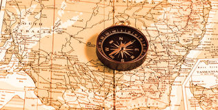 Vintage compass over map Royalty Free Stock Photos