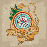 Vintage Compass With Ribbons And Text Captain Of My Soul. Motivation Card. Vacation And Tourism Icon. Royalty Free Stock Photography